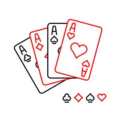 Four aces playing cards line style illustration. Ilustracja