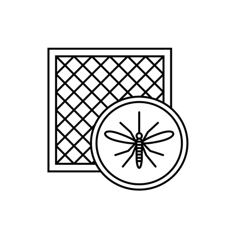 Mosquito net icon with window and mosquito silhouette. Stock Illustratie