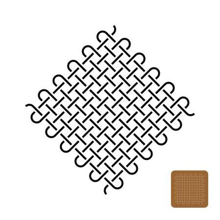 Knoten weben Symbolillustration. Symbol für gewebte enge Linien.