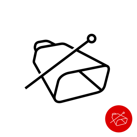 Cowbell icon. Simple linear style cow bell with stick symbol. Adjustable outline stroke line width. Ilustracja