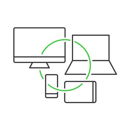 Cross platform devices concept illustration. Crossplatform development symbol. Monitor, laptop, tablet and smartphone icons with connection circle. Adjustable outline stroke line width.