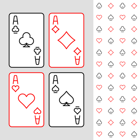 Four aces playing cards minimal linear style illustration. Card suits seamless pattern part. Adjustable outline stroke line width.