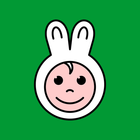 Kid face in a fun cute bunny ears hat. Happy child in a mask like cap. Baby rabbit costume. Adjustable outline stroke line width.