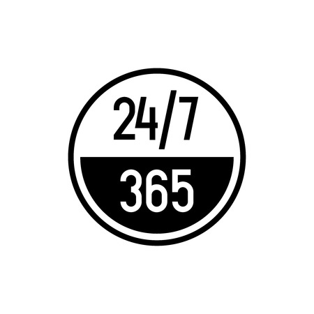 24 7 hours and 365 days icon. Any time working service or support symbol. Adjustable outline stroke line width.