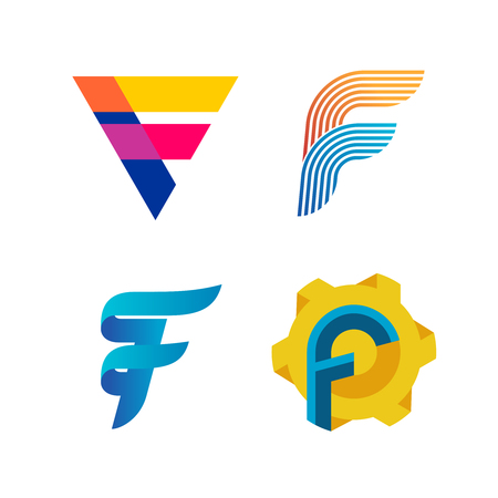 Letters F logo set. Different style and colors F letter vector signs collection. Ilustracja