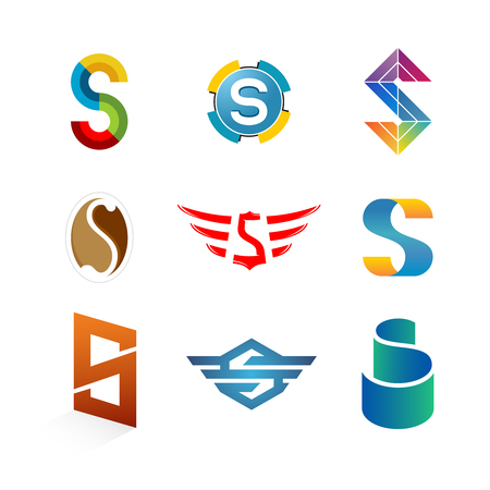 Letters S logo set. Different style and colors S letter vector signs collection.