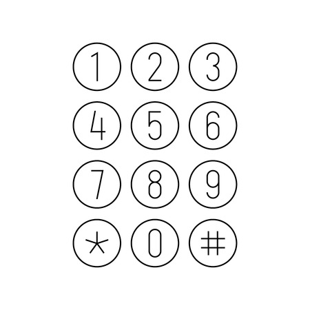 Teclado de teléfono o calculadora. Pantalla de interfaz de teléfono inteligente. Teclado de botones redondos. Números de dígitos en iconos redondos. Círculos blancos con números negros. Ancho de línea de trazo de contorno ajustable.