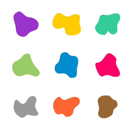 Colored spots of different curve shapes set. Fluid smooth spots. Liquid symbols of different color on white background.