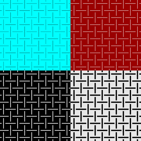 Weave lines seamless pattern set of different width. Cross wires textile like textures. Adjustable outline stroke line width. Иллюстрация
