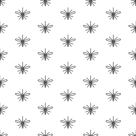 Mosquito seamless pattern. Top view mosquito insect symbols in a rows. Black and white background texture.