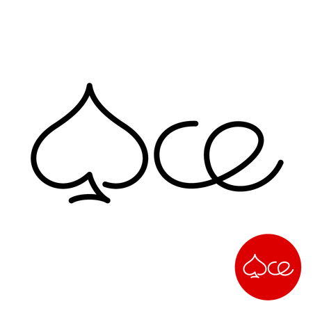 Ace word logo with spade symbol instead A letter. Lettering text poker cards theme outline sign. Spade suit line icon. Editable stroke width.