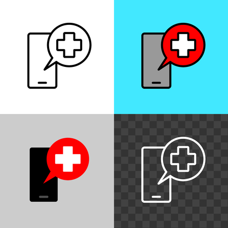 Call the doctor symbol. Smartphone silhouette with medical cross speaking round bubble. Medicine assist sign. Mobile chat with doctor for help. Editable stroke width. Ilustracja