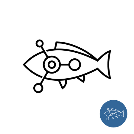 Fish outline icon with science or chemical molecular symbol inside. Fish medicaments or drugs theme line sign. Aquarium health concept. Editable stroke width.