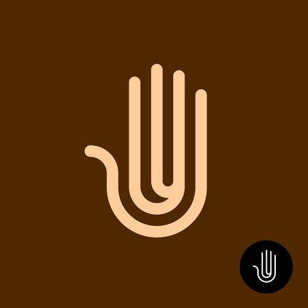 Creative hand symbol. Abstract human hand palm line style logo. Editable stroke width.