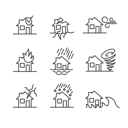 Natural disasters line style symbols. Accidents with house icons set. House insurance cases signs. Editable stroke width.