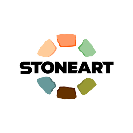Stones logo. Creative color art stones around text sign. Colored construction bricks or interior craft elements symbol. Ilustracja