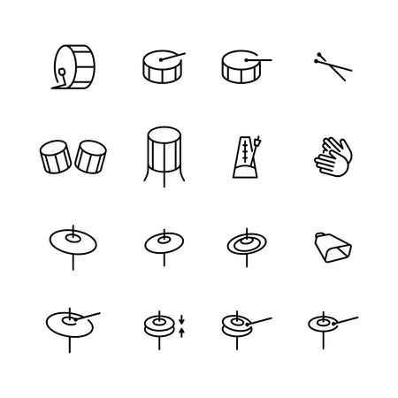 Drums icons set. Elements of drum kit or digital machine samples symbols. Bassdrum, snare, toms, cymbals, hi-hats and other. Editable stroke width. Ilustracja