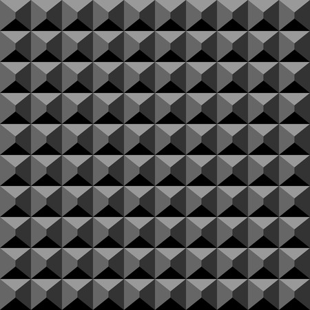 Acoustic foam material black background. Soft rubber plain of square cutted pyramids. Music record studio theme seamless pattern. Swatch included.
