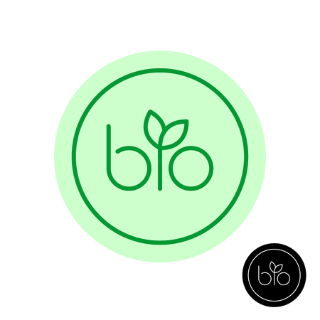 Bio text symbol with green leaves on letter I. Natural product concept round badge. Line style BIO logo. Adjustable stroke width.