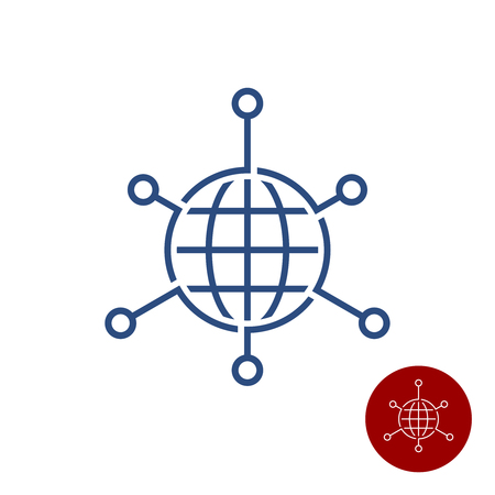 Globe Earth sphere with pointers out. Network over the world concept sign. Global tech logo. Adjustable stroke width in smaller version.
