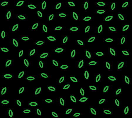 Green leaves or seeds on black background abstract natural seamless pattern background. Ilustracja