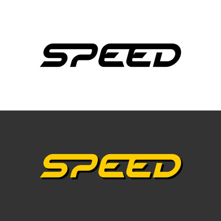 Speed word dynamic logo. Letters speed with sport style font text symbol. Fast move sign.