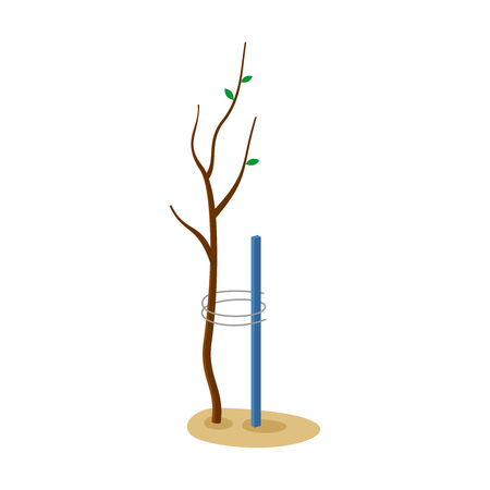 Tree with support illustration. Care about nature symbol. Help for disabled persons logo idea.