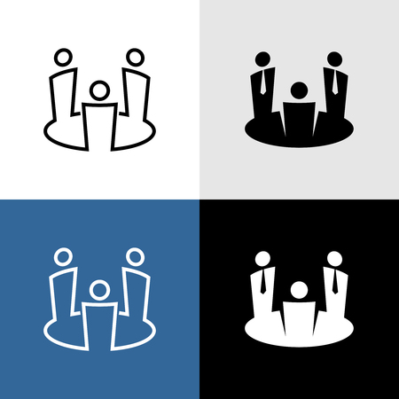 Meeting icon. Three people in suits around a round table. Teamwork conversation symbol. Audience sign. Adjustable line width.