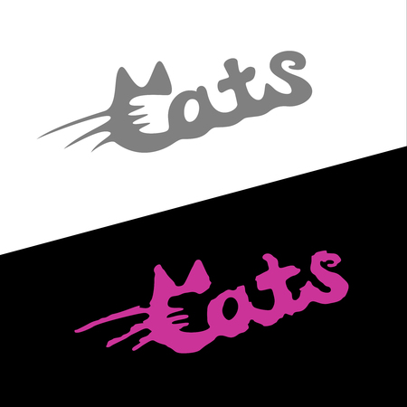 Cats word stylish fashion logo with ears and whiskers in a Ð¡ letter. Ilustracja