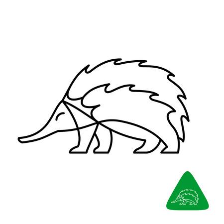 Echidna vector logo. Thin line elegant style echidna animal illustration. Adjustable stroke width.
