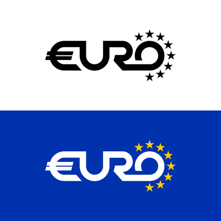 Euro word text logo with stars. Flag colors letter symbol of Euro community. Ilustracja