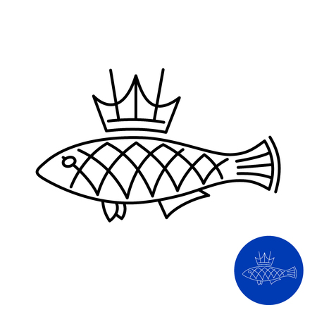 Fish icon with crown. King fish line style concept logo idea. Adjustable stroke width.