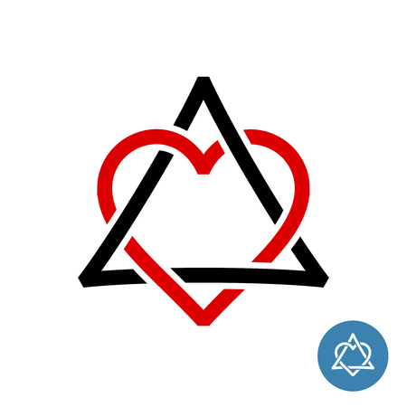 Heart with triangle knot style logo. Weave celtic style geometric sign. Jewish David star with heart inside. Ilustracja