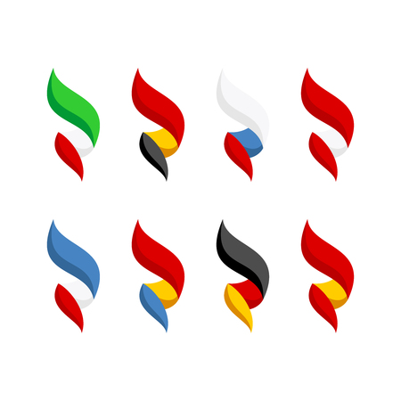 Flags of some Europe countries set. Bright style 3D like elegant flame shaped flags. Italy, France, Germany, Spain and others.