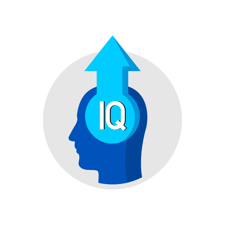 IQ grow up concept logo. Human head with arrow up. Increase of brain activity. Mental health rise symbol. Ilustracja