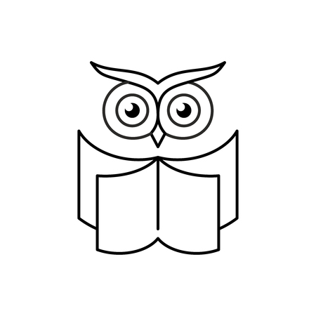 Smart owl with open book. Education logo. Reading club symbol. Line style book icon with owl head. Editable stroke width.