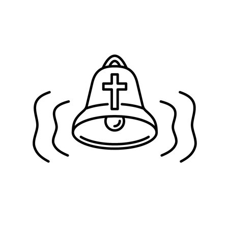 Church bell icon with audio wave curvy lines. Religion alarm alert symbol. Simple outline style bell sign. Editable stroke width. Ilustracja