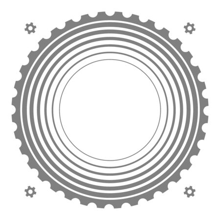 Technical theme background with radial concentric circles and gear silhouettes.