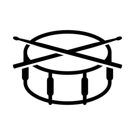 Crossed drumsticks on a snare drum icon. Musical drummer education symbol. Drum school logo.