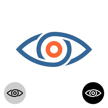 Stylized eye logo. Chain segments or drops around apple of eye. Tech theme symbol.