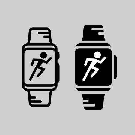 Smartwatch training icon. Runner athlete silhouette in a smart watch display. Modern technology sports. Çizim