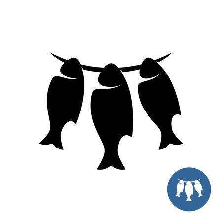 Pescados secos en un logotipo de estilo elegante de cuerda. Símbolo de tres peces ahorcados para fumar o cecina. Icono de producto de mar secado al sol. Logos