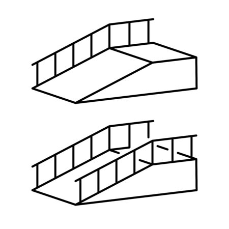 Ramp for disabled simple black outline illustration. Climb post with hand rails. Up way.