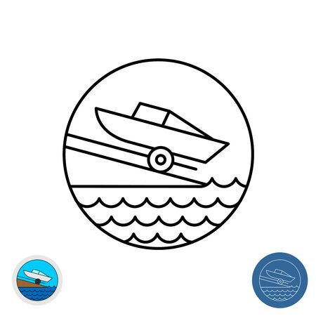 Boat ramp outline icon. Motor boat slip round sign. Marina launch place symbol with water waves. 向量圖像