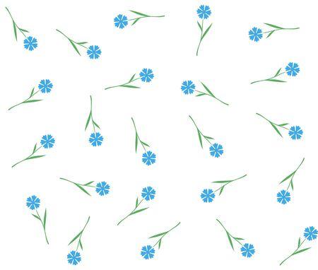 Blue flowers seamless pattern. Cornflowers or flax floral apparel pattern.