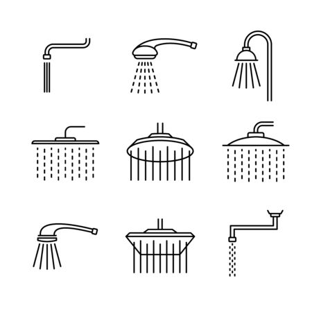 Shower head type icons set. Outline style different shower symbols. Douche shapes. Adjustable line width.