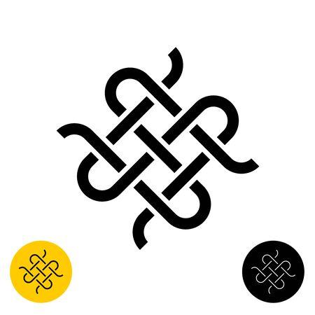 Weben Sie Knoten-Logo im keltischen Stil. Symbol für gekreuzte Textillinien. Einstellbare Linienbreite. Logo