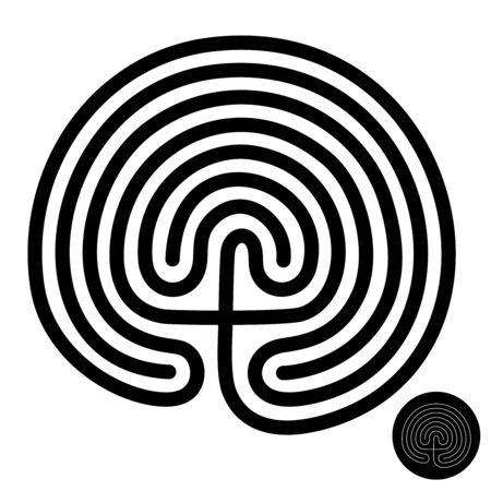 Crete traditional symbol. Cretan labyrinth of Minotaur creature. Greek ancient figure symbol. Adjustable stroke width.