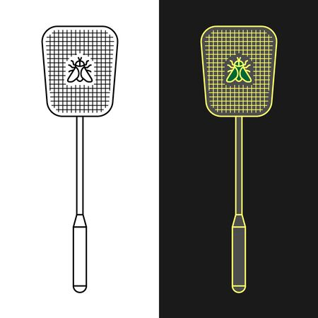 Fly swatter. Anti-fly weapon simple illustration. Flyswatter insect killing tool. Adjustable stroke width.  イラスト・ベクター素材