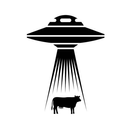 UFO adducts cow simple illustration. Side view alien spaceship with light rays to catch a cow animal.